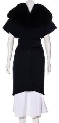 Martin Grant Fur-Trimmed Knee-Length Coat