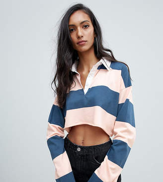Missguided Tall cropped rugby top in multi stripe