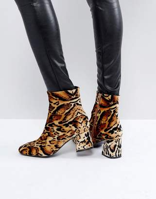 PrettyLittleThing Leopard Print Block Heeled Boot