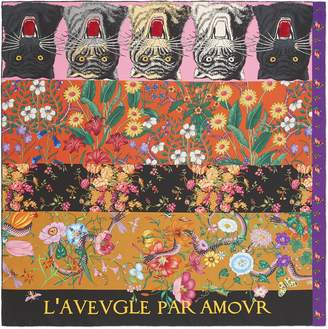 Gucci Patchwork print silk scarf