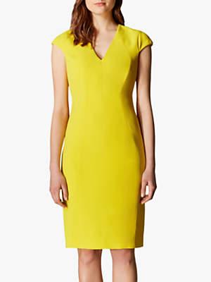 Karen Millen V-Neck Pencil Dress, Yellow