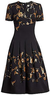 Oscar de la Renta Women's Metallic Floral Short-Sleeve Midi Dress