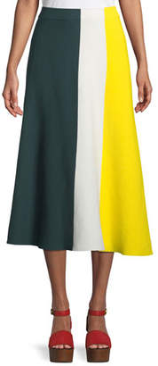 Derek Lam Colorblocked Cotton Knit Midi Skirt