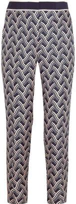 Victoria Beckham Victoria, Printed Silk-twill Tapered Pants - Navy