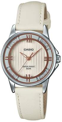 Casio LTP1391L-7A2V Women's Enticer Eggshell Leather Band Crystal Accented Dial Analog Watch