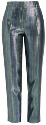 Wolf & Badger Vesper Blue Metallic Silk High Waist Suit Trousers