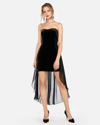 Express Edition Velvet Strapless Sheath Dress