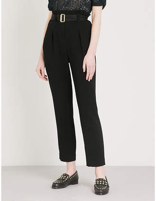 Claudie Pierlot High-rise tapered crepe trousers