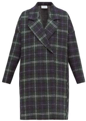 Harris Wharf London Tartan Check Pressed Virgin Wool Felt Coat - Womens - Green Multi