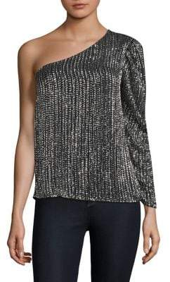 Parker Patricia Sequin One-Shoulder Top