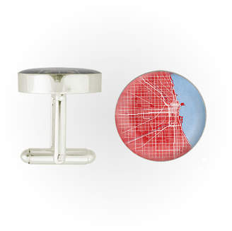 City Prints Chicago Map Cuff Links