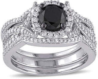 Black Diamond MODERN BRIDE Midnight 1 CT. T.W. White and Color-Enhanced Bridal Ring Set