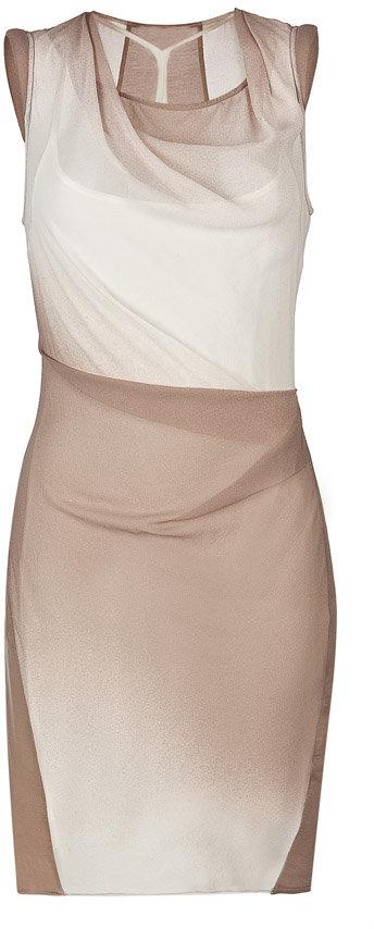 Helmut Lang Nude Spray Ombré Silk Dress