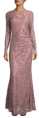 Long Sleeve Sequined Lace Gown $179 thestylecure.com