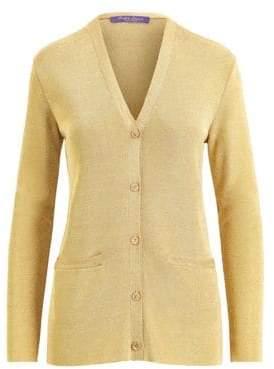 Ralph Lauren Women s Knit Lurex Cardigan Sweater - Gold - Size Large a4aee248c087