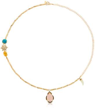 Iosselliani Long Pearl & Linked Cylinder Necklace