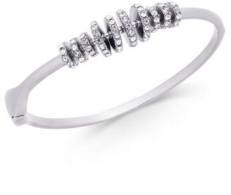 INC International Concepts I.n.c. Silver-Tone Pave Rondelle Bead Bangle Bracelet, Created for Macy's