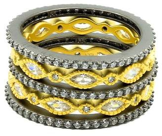 Freida Rothman Two-Tone Plated Sterling Silver CZ Eternity Stacking Ring Set - Size 5