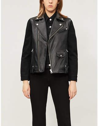 Replay Sleeveless lamb leather biker jacket