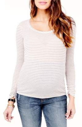 Ingrid & Isabel R) Stripe Scoop Neck Maternity Tee