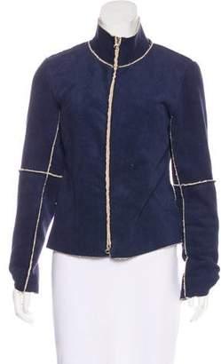 Velvet Faux Suede Zip-Up Jacket