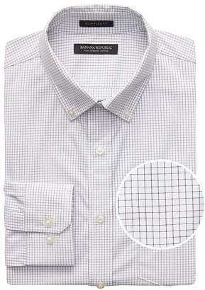 Banana Republic NEW Slim-Fit Tech-Stretch Cotton Windowpane Shirt
