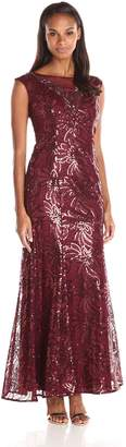 Ignite Women's Embellished Illusion Mesh Sequined Evening Gown