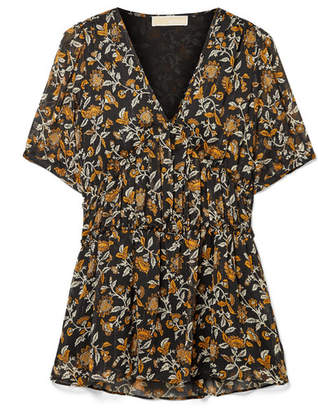 MICHAEL Michael Kors Pleated Floral-print Crepon Top - Black