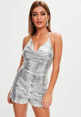 Missguided Sequin Cowl Detail Playsuit