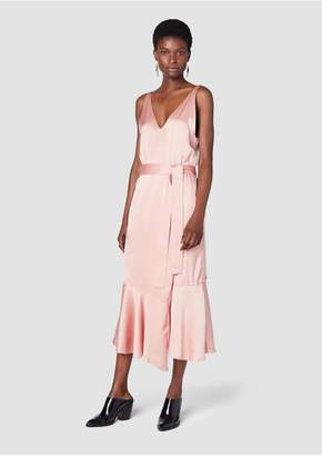 Derek Lam 10 Crosby Belted V-Neck Cami Dress With Asymmetric Hem