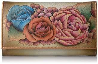 Anuschka Women's Genuine Leather Clutch Wallet | Hand painted Original Artwork | Lush Lilac Bronze