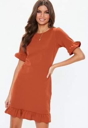 Missguided Rust Frill Detail Short Sleeve Shift Dress