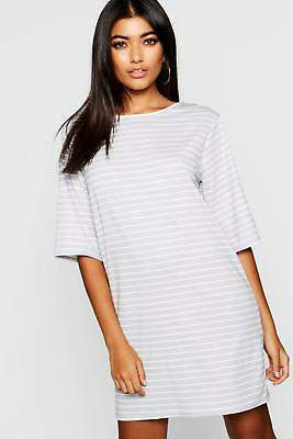 boohoo NEW Womens Stripe T-Shirt Dress in Polyester