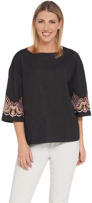 Bob Mackie Bob Mackie's Drop Shoulder Blouse with Sleeve Embroidery