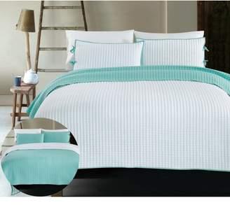 California Design Den X Cross Stitch 3-Piece Reversible Bedding Coverlet Set, Queen Size Lightweight Quilted White Bedspreads, White/Spa Blue