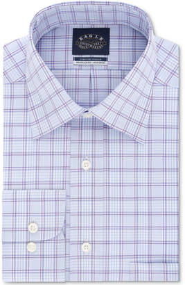 Eagle Men Classic/Regular Fit Non-Iron Stretch Collar Purple Check Dress Shirt