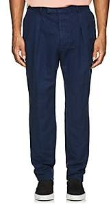 Officine Generale MEN'S SLUB LINEN-COTTON TROUSERS-DK. BLUE SIZE 50 EU