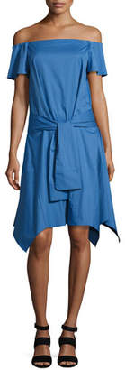 Halston Off-the-Shoulder Handkerchief-Hem Dress w/ Tie, Coastal Blue