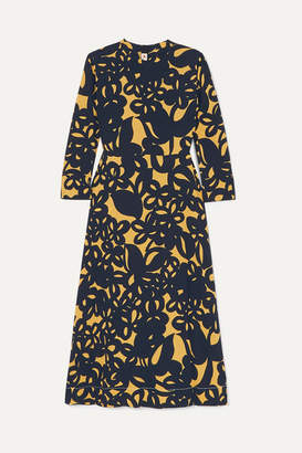 Marni Printed Crepe Midi Dress - Blue