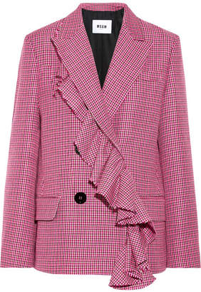 MSGM Ruffle-trimmed Houndstooth Wool Blazer - Pink