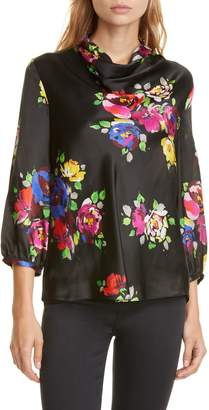 Kate Spade Rare Roses Floral Silk Cowl Neck Blouse