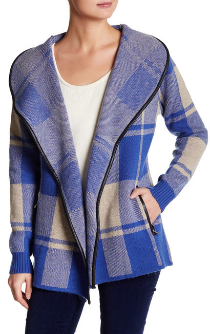 Love Token Faux Leather Trimmed Plaid Sweater