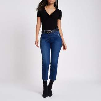 River Island Womens Black knot front fitted bodysuit