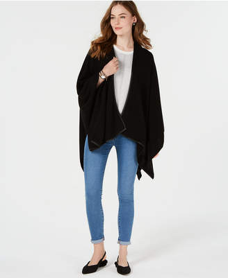 Charter Club Pure Cashmere Wrap with Leather Trim