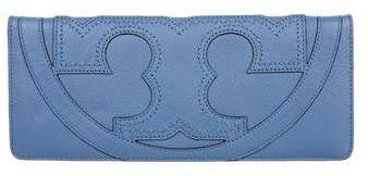 Tory Burch Grained Leather Logo Clutch - BLUE - STYLE