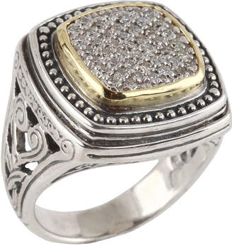 Konstantino Asteri Ornate Square Pave White Diamond Ring Size 7