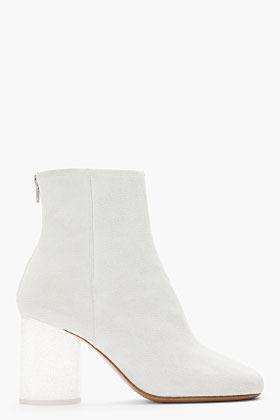 Maison Martin Margiela White suede clear glitter Plexi Heel Boots