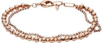 Fossil Women's Rose-Gold Multi-Beaded Bracelet