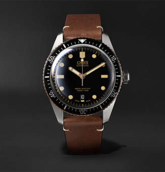 Oris Divers Sixty-Five Automatic 42mm Stainless Steel and Leather Watch - Men - Black