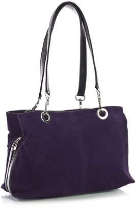 Big Handbag Shop Womens Small Twin Top Multi Zip Pockets Suede Leather Shoulder Bag (3_MP Dark Grey Blk)